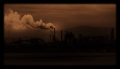 Love Your Mother Earth (jeanmarie shelton) Tags: sky sepia night dark industrial smoke refinery earthday jeanmarie jeanmarieshelton