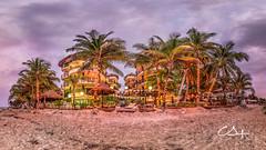 El Taj, Playa del Carmen. (Gallitosoto2) Tags: ocean sunset sky sun beach sunrise landscape mexico atardecer sand playadelcarmen playa paisaje palm amanecer pro cancun hdr beutiful autopano tinyplanets 360panorama 360180 ninjanodal fujifilmx100t