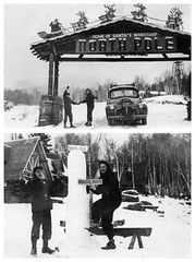 dad & grandmom - north pole two frames (Doctor Casino) Tags: snow diptych gate evelyn sunny judy roadsideattraction florentine godel girth