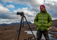 DK (Davescunningplan) Tags: silhouette pose landscape photography scotland waiting tripod silhouettes photographers assynt greenjacket davidkeep