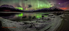 Memories of Winter (Traylor Photography) Tags: railroad bridge winter panorama mountain snow reflection ice water alaska night train dark stars wideangle anchorage northernlights auroraborealis girdwood sewardhighway lastone twentymileriver neonvolcano