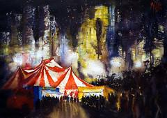 Circus in the night, #2 (andremehu) Tags: light urban watercolor landscape cityscape circo nightscape circus ciudad watercolour urbana cirque urbanscape urbain urbanscenery