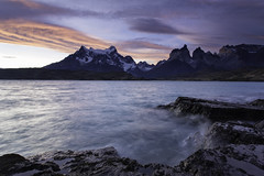 Paine Grande (surfneng) Tags: chile park sky patagonia mountain snow southamerica clouds hotel rocks torresdelpaine lakepehoe painegrande