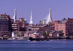 Tug Boat, Old North Church and Zakim Bridge (BostonPhotoSphere) Tags: bostonskyline eastboston bostonharbor