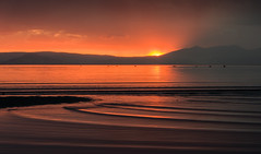 Sunset with Seals (Ian McClure) Tags: sunset beach pentax holy seals ripples ayr isle arran