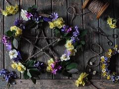 Mayday / Beltane Floral Wreath (memoryweaver) Tags: uk flowers spring garland wreath topdown druid mayday wicca oxfordshire pagan beltane beltaine druidry wheeloftheyear bealtane flatlay memoryweaver