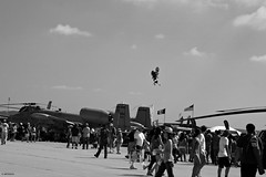 Look Mom..No Hands!!! (Wildlife_Biologist) Tags: blackandwhite monochrome person flying jump sandiego outdoor aerial airshow motorbike human motorcycle trick airborne bigair stunt nohands a10 homosapiens miramarairshow aerialstunt wildlifebiologist jeffahrens