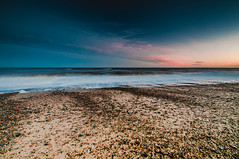 Changing Of The Colours (kevbphotography) Tags: uk pink sea orange beach water reflections coast suffolk sand colours tide east coastal sunet anglia covehithe