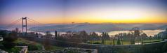 DSC04823-Pano (Orhan Kl) Tags: city bridge trees sea sky water architecture sunrise turkey landscape outdoor pano istanbul panoramic bosphorus hisarst sonysel35mmf18 sonya6000