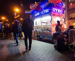 Lamb Gyro (UrbanphotoZ) Tags: nyc newyorkcity ny newyork man night hotdog manhattan wheelchair coke luggage pedestrians lamb pepsi umbrellas unionsquare gatorade gyro sabrett canadadry foodcart thebeststuffonearth lambgyro