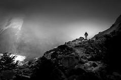 Trekking to Laguna Torre (hzeta) Tags: light patagonia naturaleza mist man luz nature argentina trekking landscape person persona solitude hiking paisaje el soledad caminata senderismo niebla hombre chalten