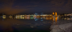 Frozen harbor (Explored) (Tore Thiis Fjeld) Tags: city longexposure winter light red sea sky panorama seascape cold color ice oslo norway night clouds harbor town frozen nikon view harbour capital january akerbrygge quay le tjuvholmen d800 14mm samyang