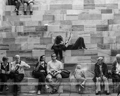 The monument (Barbara Oggero) Tags: street city travel people urban woman milan art monument bench day republic child milano president streetphotography sit rest capture selfie daylife streephoto