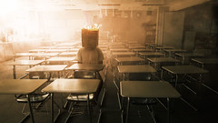 Noise (karlwpfeiffer) Tags: school public composite fire photography kid haze alone chairs classroom head smoke class burning flare lonely desks paperbag bullying karlpfeiffer