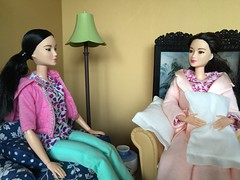 9. Wise Advice from a Sister (Foxy Belle) Tags: pink scale night computer asian living chair doll body leah turquoise laptop room barbie style move made ill 1d flannel glam medicine nurse sickness armchair sick pajamas diorama dollhouse illness scrubs 2015 playscale