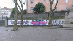 Porto Graffity / Streetart 7 (rocknrolltheke) Tags: pink blue trees urban streetart portugal graffiti three purple outdoor violet rosa graffity lila porto blau bume oporto drei 22365