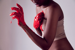Failed Pt 2 (anita.wilson) Tags: red woman brown black girl hands paint skin fingers lips drip bandages