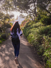 Into the Woods (parkapark) Tags: sanfrancisco goldengatepark park people nature girl walk candid hike teen