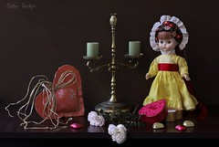 Valentine's  Day Greeting (Esther Spektor - Thanks for 10+ millions views..) Tags: flowers red stilllife orange brown white green rose yellow metal composition canon golden doll pattern candle dress candy heart availablelight chocolate stilleben bow raffia greeting tabletop lid bodegon naturemorte valentineday naturamorta naturezamorta creativephotography artisticphoto candlehoder estherspektor