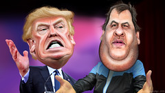 Chris Christie endorses Donald Trump - Caricatures (DonkeyHotey) Tags: face illustration photomanipulation photoshop photo newjersey political politics cartoon manipulation governor caricature politician thedonald donaldtrump sr karikatur caricatura apprentice commentary karikatuur politicalcommentary chrischristie donaldjohntrump donkeyhotey christopherjameschristie