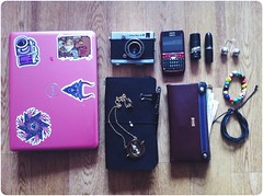Working day (HybridDoll) Tags: bag notebook mac content purse dell whatsinyourbag filmcamera lush whatsinmybag chaika2 travellersnotebook 2 midoritravellersnotebook