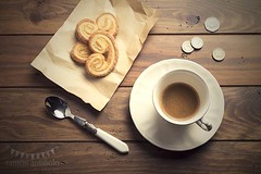 Breakfast (Ramón Antiñolo) Tags: morning stilllife brown elephant hot cup coffee vintage paper table dessert wooden cozy coin heart traditional puff lifestyle spoon valentine retro sugar cash nostalgia ear pastry change espresso caffeine pound crunchy topview palmier kraft baked overheadview flatlay