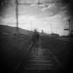 The ghost of myself (Victoria Yarlikova) Tags: camera abstract abandoned 6x6 film monochrome analog square toy holga blurry lomo lomography exposure sad traditional grain surreal railway scratches double scan medium format lonely analogue process expired ghostly 120mm pellicola