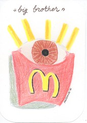 Big brother study (lahermanafieltrovitz) Tags: color pencil eyes surrealism patatas chips fries bigbrother lpiz mcdonalds fieltrovitz