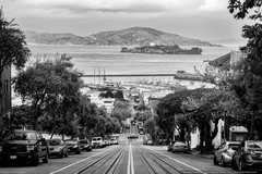 The Streets of San Francisco (mhoffman1) Tags: sanfrancisco california ca street blackandwhite monochrome marina island us unitedstates hill fishermanswharf alcatraz sanfranciscobay steep hydestpier sonyalpha a7r