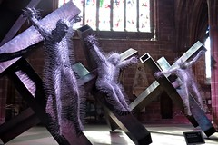 Golgotha (lady.bracknell) Tags: sculpture art wire cross crosses nails installation crucifixion davidmach golgotha chestercathedral christonthecross
