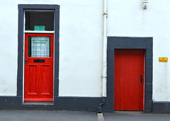 Two red doors in Penrith, Cumbria (Tony Worrall Foto) Tags: county door uk 2 two england color building wall stream closed colours tour open place northwest unitedkingdom duo country north entrance twin visit location area portal colourful northern update knock attraction penrith cumbrian cumrbia welovethenorth