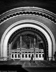 Union Station Waiting (mjardeen) Tags: blackandwhite bw sculpture texture geometric monochrome station statue architecture contrast ir washington site pattern arch conversion sony 28mm union filter infrared wa unionpacific f2 tacoma fe curve 282 720nm lifepixel 850nm blakke