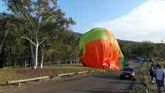 Landing on Black Mt Peninsular (spelio) Tags: water festival mar hotair balloon australia canberra act 2016 lakeburleygriffin