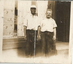 "July 1944- Browne and Mr. M(?) in front of the store"" (912greens) Tags: 1940s africanamericans storefronts stores businesses partners mentogether folksidontknow"