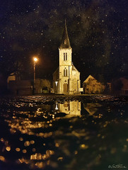 Own The Twilight (Ben Heine) Tags: life street houses light reflection texture love church water lamp rain architecture night composition stars puddle photography hope twilight village floor belgium belgique lumire faith religion pray perspective pluie pointofview galaxy crpuscule nuit glise galaxie milkyway voielacte flaquedeau benheinephotography prayforbrussels samsungs7edge prayforbelgium ownthetwilight