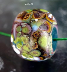 Coca (Laura Blanck Openstudio) Tags: blue etched usa brown white mountain abstract green glass silver necklace beads leaf big italian colorful aqua artist glow handmade turquoise fine arts ivory funky jewelry holes made odd earthy single donut round copper huge opaque bead organic mermaid murano lampwork multicolor raku artisan pendant matte whimsical nugget frit openstudio ocher focal speckles silvered openstudiobeads