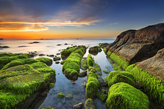 Tinduk Terongkongan, Kudat Sabah (Adly Wook) Tags: ocean longexposure sunset red sea sky seascape rock stone landscape photography seaside outdoor dramatic malaysia serene mossy sabah 6d hdwallpaper sighray
