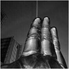"Scratching the sky, Sculpture ""Korper und Seele"" (Thunderbird61) Tags: sky blackandwhite bw sculpture art monochrome germany contrail hand zwartwit nb nrw sw schwarzweiss mnster zw lvm bodyandsoul pentaxart dukkyuryang"