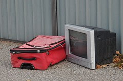 TV Travel (mikecogh) Tags: television tv lane rubbish discarded suitcase woodville