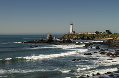 Rocking waves (corybeatty) Tags: ocean sea sky sun lighthouse beach landscape coast highway rocks waves pacific pch