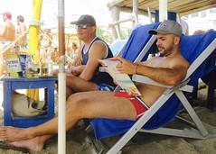 IMG_1258 (danimaniacs) Tags: shirtless man hot sexy guy beach hat beard cap tanktop trunks speedo swimsuit stud scruff
