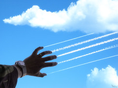 Scratching the sky (Brbelly) Tags: composite clouds contrail hand airplanes planes
