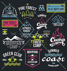 Set of retro vintage badges and label graphics (pineappleterrace) Tags: pink blue summer camp mountain green tourism expedition club forest emblem coast icons neon farmers market hiking label tshirt tools retro arrow lettering badges product authentic linear feller alpinism blazon