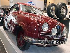 93 (The Rubberbandman) Tags: auto red race sedan vintage germany essen sweden rally swedish german techno 93 saloon saab fahrzeug 96 classica