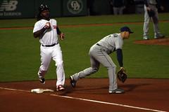 Another groundout (ConfessionalPoet) Tags: baseball redsox firstbase baserunner hanleyramirez firstbaseman loganmorrison tampabayrays
