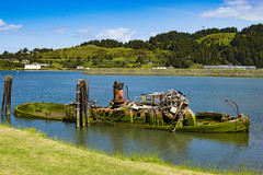 Ship Wrecked (wethecampers) Tags: old people water oregon boat cool awesome sinking oldboat shipwrecked
