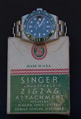 Rolex Submariner meets Singer (milgaussgv) Tags: professional singer hulk zigzag rolex accessoires featherweight horlogerie
