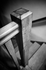 Newel (Nigel Hannant) Tags: wood blackandwhite stairs oak post grain bnw newel