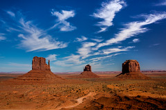 The Mittens and Merrick Butte (malaholic) Tags: redrock monumentvalley monoliths theview cirrus wispyclouds themittens merrickbutte