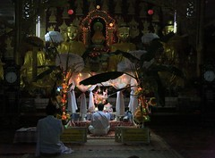 Evening Prayers Interior Street Temple Golden Triangle Burma Myanmar South East Asia (eriagn) Tags: travel light shadow red portrait orange men nature yellow night toy temple photography evening toddler shrine asia southeastasia alone village child market buddha interior burma religion royal documentary monk buddhism foliage myanmar meditation textiles recycling seated buddhisttemple prayers goldentriangle hilltribe robes sugarcane shanprovince eriagn ngairehart